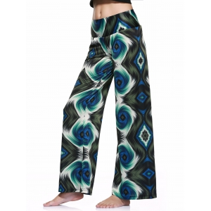 Casual Style Elastic Waist Printed Loose-Fitting Pants For Women -