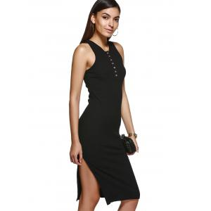 Trendy V Neck Solid Color Buttoned Bodycon Dress -