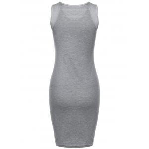 Casual Women's Gray Sleeveless Letter Print Number 23 Dress -
