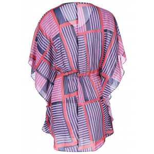 Fashionable Slimming V-Neck Geometric Print Dress For Women - BLUE/PINK L