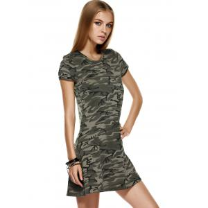 Fashionable Short Sleeves Round Collar Camo Printing Dress For Women -