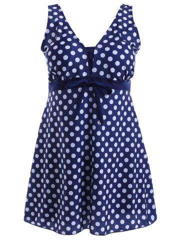 Discount Bowknot Polka Dot Skirted One-Piece Swimsuit