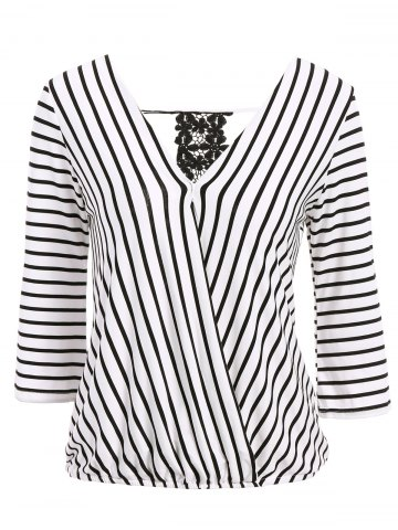Latest Sexy V-Neck 3/4 Sleeve Striped Hollow Out Women's Blouse
