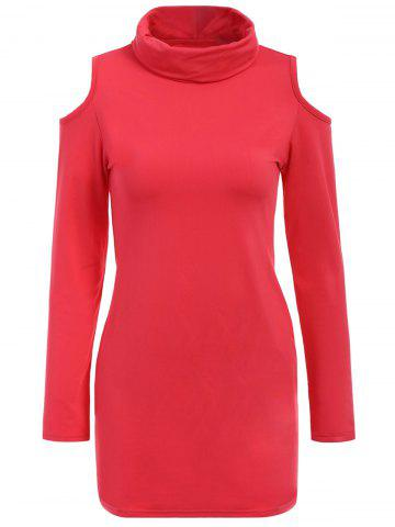 Latest Alluring Cowl Neck Long Sleeve Hollow Out Slimming Women's Dress