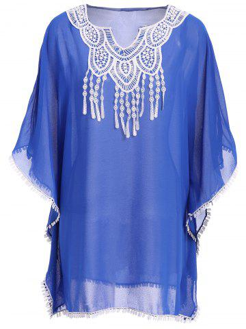 Chic Crochet Trim Chiffon Swing Kaftan Tunic Cover Up - ONE SIZE(FIT SIZE XS TO M) BLUE Mobile
