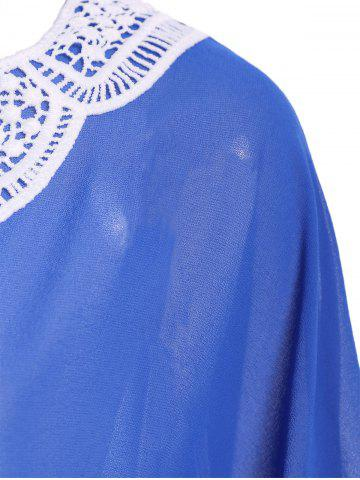 Affordable Crochet Trim Chiffon Swing Kaftan Tunic Cover Up - ONE SIZE(FIT SIZE XS TO M) BLUE Mobile
