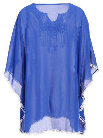 Discount Crochet Trim Chiffon Swing Kaftan Tunic Cover Up - ONE SIZE(FIT SIZE XS TO M) BLUE Mobile