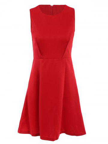 Trendy Christmas Scoop Neck Sleeveless Solid Color A-Line Dress For Women