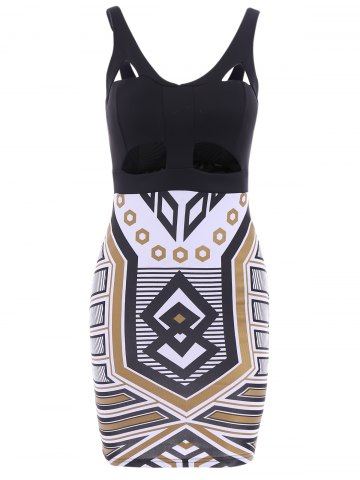 Outfit Sexy Plunging Neck Sleeveless Spliced Printed Bodycon Women's Dress