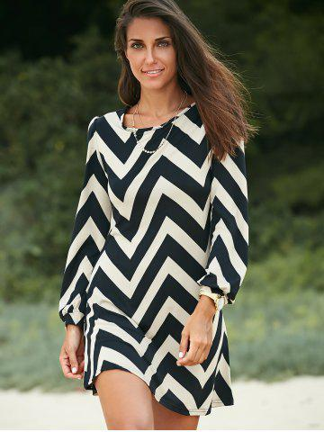 Fashion Zigzag Printed Dress For Women BLACK S