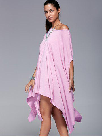 Buy Solid Color 1/2 Batwing Sleeve Asymmetric Loose T-Shirt PINK M