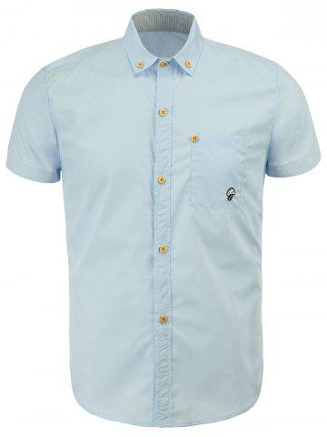 Casual Turn Down Collar Solid Color Button Design Shirts For Men - Ice Blue - 2xl