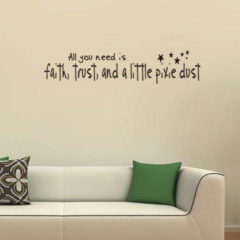 Shop DIY Proverbs Stars Quote Wall Stickers For Bedrooms - BLACK  Mobile