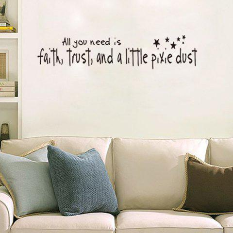 Trendy DIY Proverbs Stars Quote Wall Stickers For Bedrooms - BLACK  Mobile