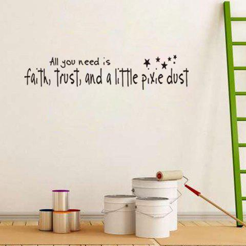 Chic DIY Proverbs Stars Quote Wall Stickers For Bedrooms - BLACK  Mobile