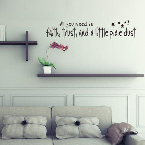 Outfits DIY Proverbs Stars Quote Wall Stickers For Bedrooms - BLACK  Mobile