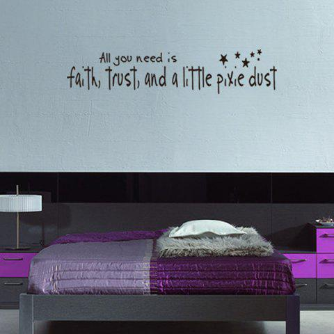 Unique DIY Proverbs Stars Quote Wall Stickers For Bedrooms - BLACK  Mobile