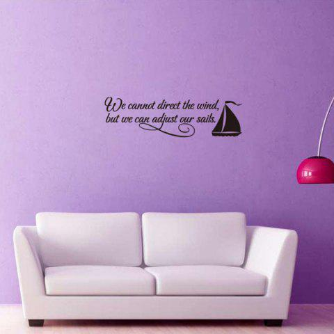 Encouraging Proverbs Sailing Ship Quote Wall Stickers For Bedrooms - Black - Eu Plug