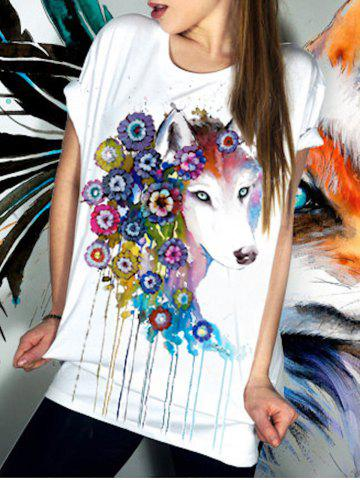 Sale Casual Short Sleeve Floral Fox Pattern Women's T-Shirt