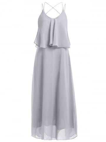 Best Casual Solid Color V-Neck Spaghetti Strap Flounce Backless Maxi Dress For Women