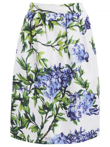 Fancy Ladylike High-Waisted Printed A-Line Women's Midi Skirt