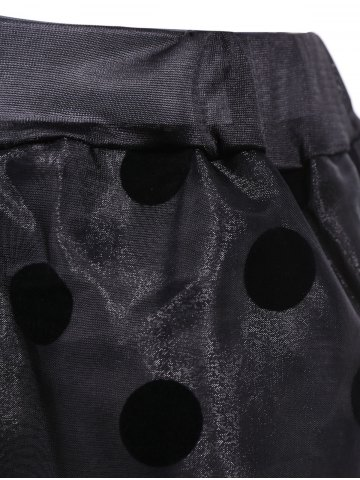 Fancy Polka Dot Organza Overlay Midi Skirt - ONE SIZE(FIT SIZE XS TO M) BLACK Mobile