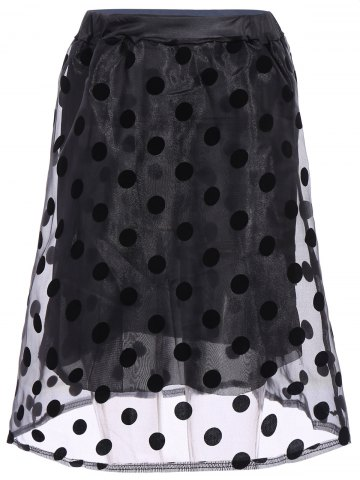 Latest Polka Dot Organza Overlay Midi Skirt - ONE SIZE(FIT SIZE XS TO M) BLACK Mobile