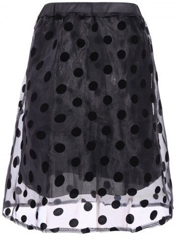 Affordable Polka Dot Organza Overlay Midi Skirt - ONE SIZE(FIT SIZE XS TO M) BLACK Mobile