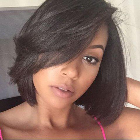Buy Bob Style Straight Black Brown Lace Front Short Synthetic Wig For Women - BLACK BROWN  Mobile