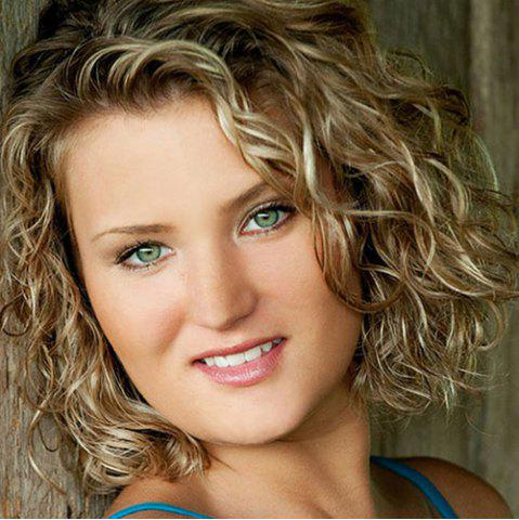 Discount Shaggy Curly Blonde Mixed Synthetic Elegant Short Lace Front Wig For Women COLORMIX