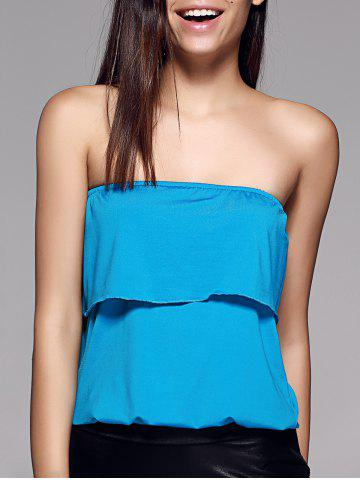 Hot Stylish Strapless Overlay Solid Color Top For Women