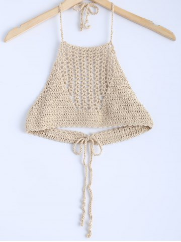 Online Stylish Lace Up Crochet Knitting Crop Top For Women