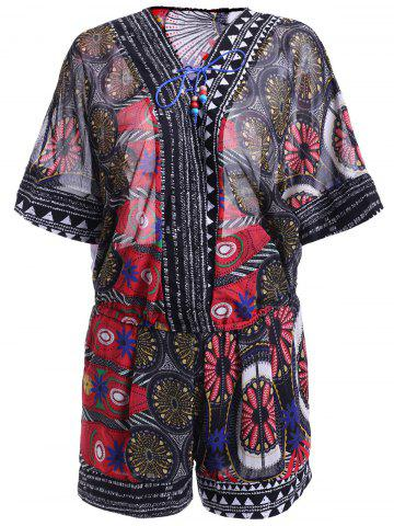 Outfit Ethnic Style Print Lace-Up Batwing Sleeves Blouse and Print Shorts Set For Women