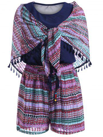 New Stylish Print Fringe Shawl Scoop Neck Sleeveless Top and Tie Print Shorts Set For Women