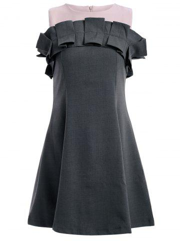 Fashion Stylish Sleeveless Frill Design A-Line Dress For Women