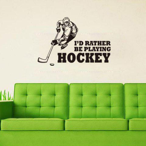 Latest Creative Hockey Competition Sportsman Sports Wall Decals For Bedrooms BLACK