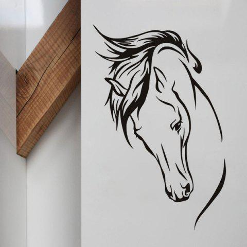 Affordable Personality Home Decoration Horse Head Design Wall Art Sticker BLACK