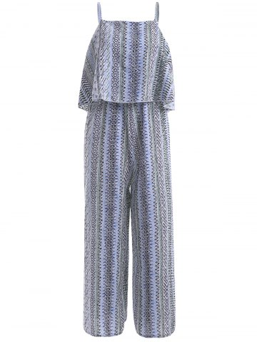 Chic Bohemian Spaghetti Strap Print Flounce Jumpsuit For Women