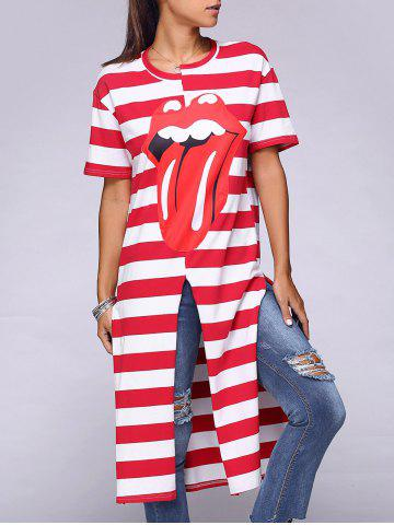 New Stylish Striped Tongue Pattern High Slit Long T-Shirt