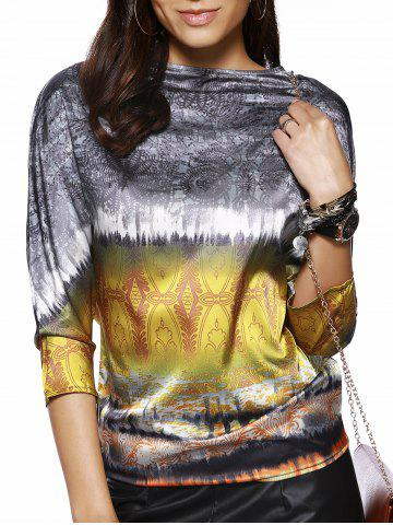Outfits Retro Style Women's Boat Neck 3/4 Sleeve Printed Blouse