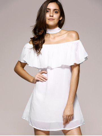 Hot Off The Shoulder Flounce Chiffon Dress WHITE M