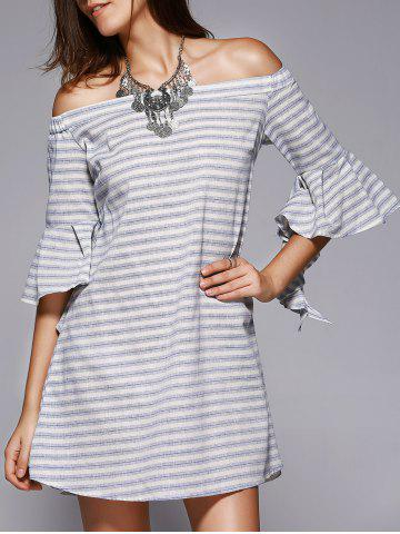 Outfits Chic Off-The-Shoulder Cut Out Striped Dress For Women STRIPE L