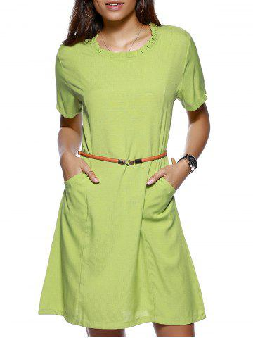 Store Stylish Women's Ruffled Collar Solid Color Linen Dress