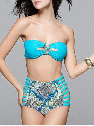 Chic Floral Cutout High Waisted Bandeau Bikini Set