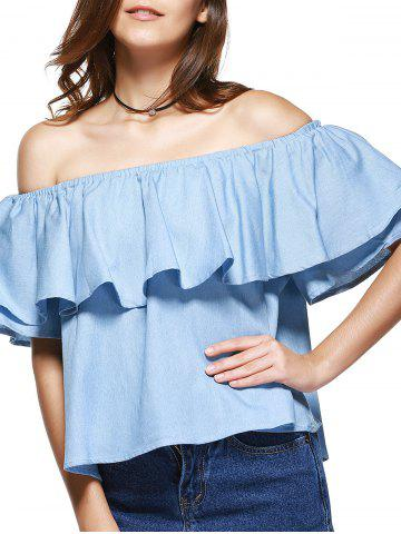 Latest Sweet Off-The-Shoulder Flounce Denim Blouse For Women LIGHT BLUE L