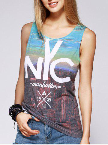 Shop Fashionable Scoop Neck Print Cut Out Tank Top For Women