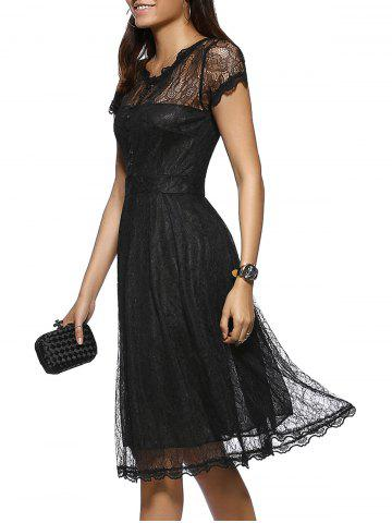 Chic Elegant Button Front Scalloped Layered Women's Lace Dress