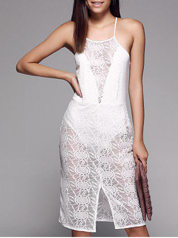 Unique See-Through Slit Front Sleeveless Lace Cami Dress WHITE XL