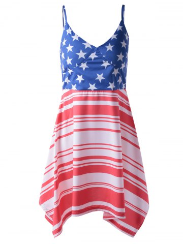 Fancy Americana Flag Printing Spaghetti Strap Asymmetric Patriotic Dress