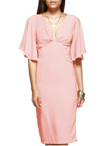 Fancy Elegant Women's Pink Flounced Sleeves Open Back Dress